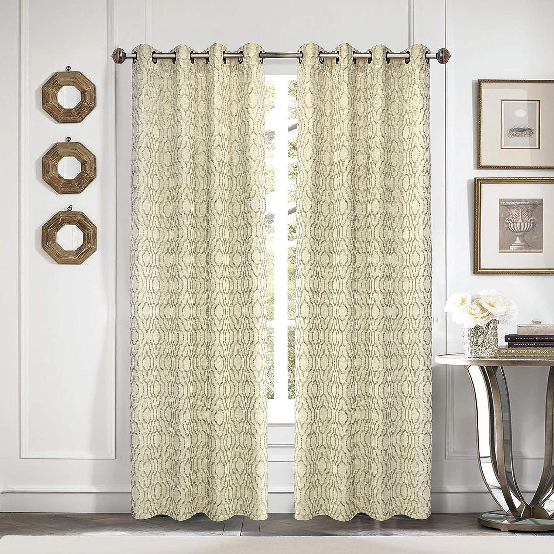 54X84 Idea Nuova Moroccan Trellis Window Curtain Panel Ivory