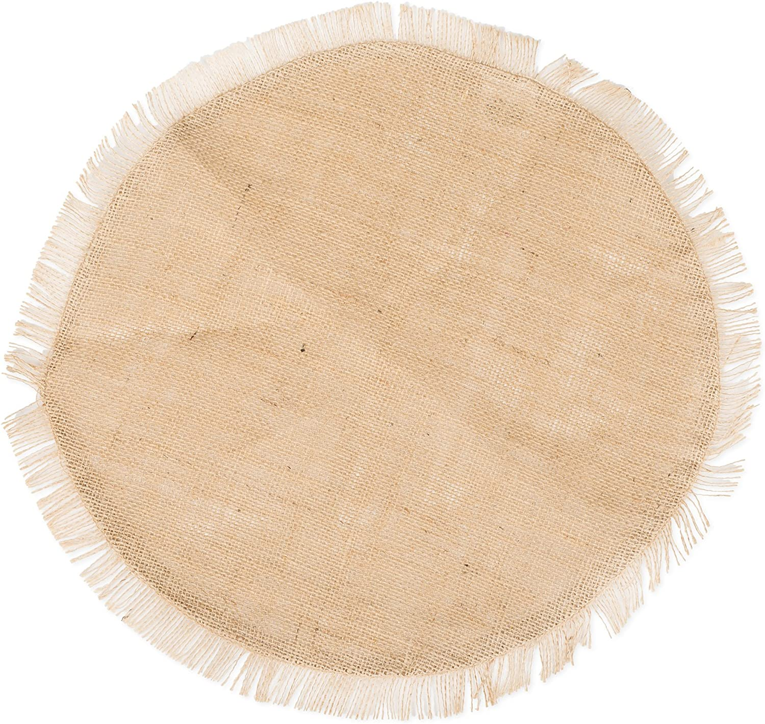 Amazon Com The Country House Collection 14 Inch Fringed Burlap Round Mat 14 Inch Burlap Single Placemat Home Kitchen
