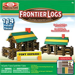 Ideal Frontier Logs 114 Piece Classic Wood Construction Set