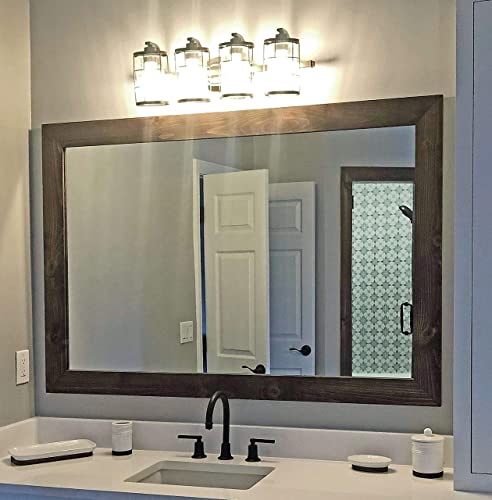 Amazon Com Shiplap Rustic Wood Framed Mirror 20 Stain Colors Reclaimed Styled Wood Large Vanity Mirror Bathroom Mirror Master Bathroom Mirror Full Length Mirror Big Mirror Hanging Mirror Handmade