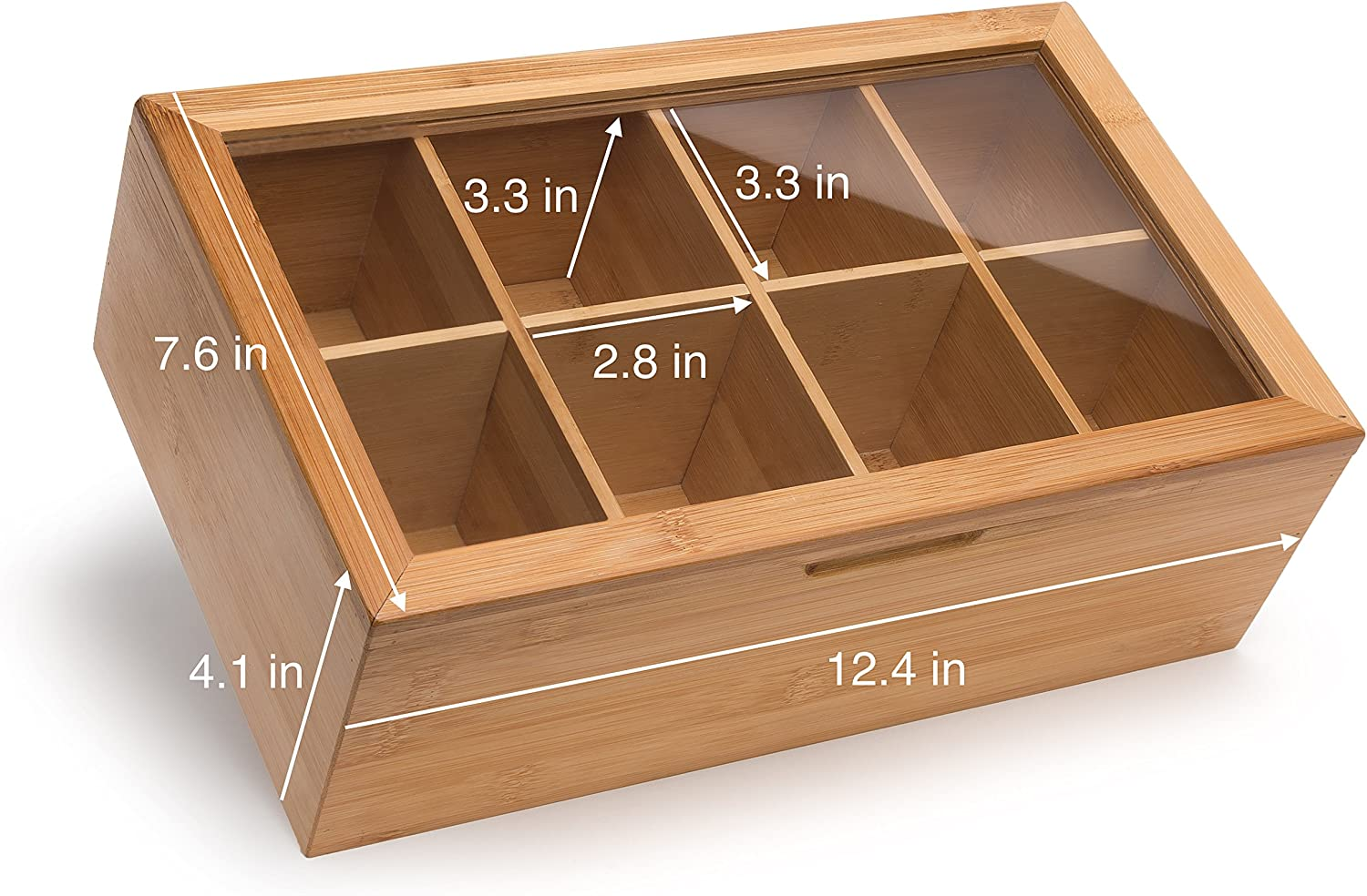 Randomgrounds Bamboo Tea Box Storage Organizer Taller Size Holds 120 Standing Or Flat Tea Bags 8 Adjustable Tea Chest Compartments Natural Wooden Finish Amazon Ca Home Kitchen