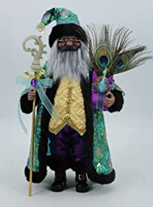 "Windy Hill Collection 16"" Inch Standing Stunning Sequin Ethnic African American Santa Claus Christmas Figurine Figure Decoration 167220A"