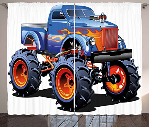 Ambesonne Man Cave Curtains, Cartoon Monster Truck with Huge Tyres Off-Road Heavy Large Tractor Wheels Turbo, Living Room Bedroom Window Drapes 2 Panel Set, 108 X 84 , Multicolor