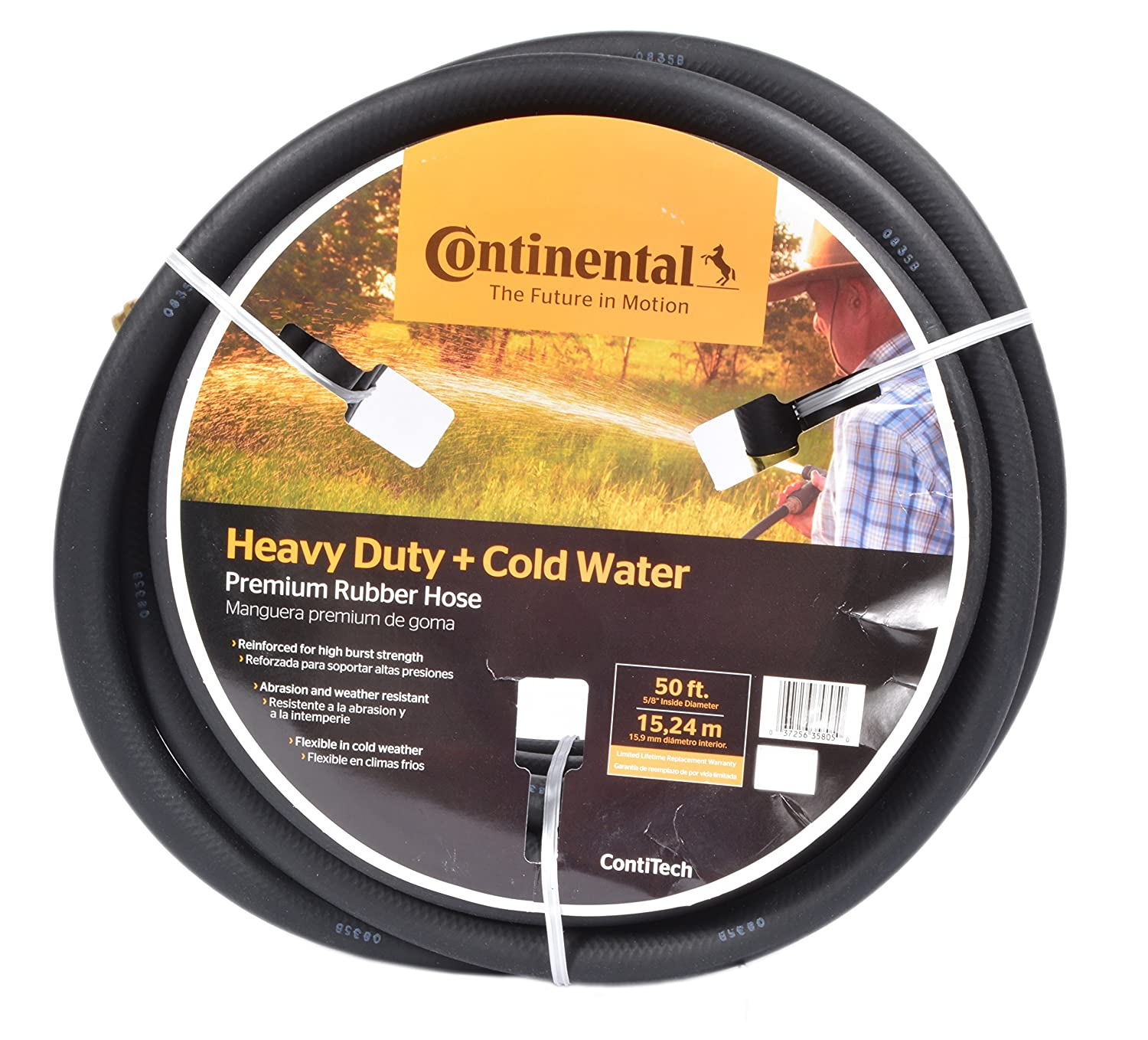 Continental ContiTech Black Rubber Heavy Duty Garden Hose, 5/8 ID x 50' Length Goodyear Engineered Products 20258074