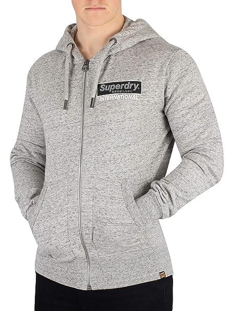 Superdry Men's International Monochrome Zip Hoodie, Grey at
