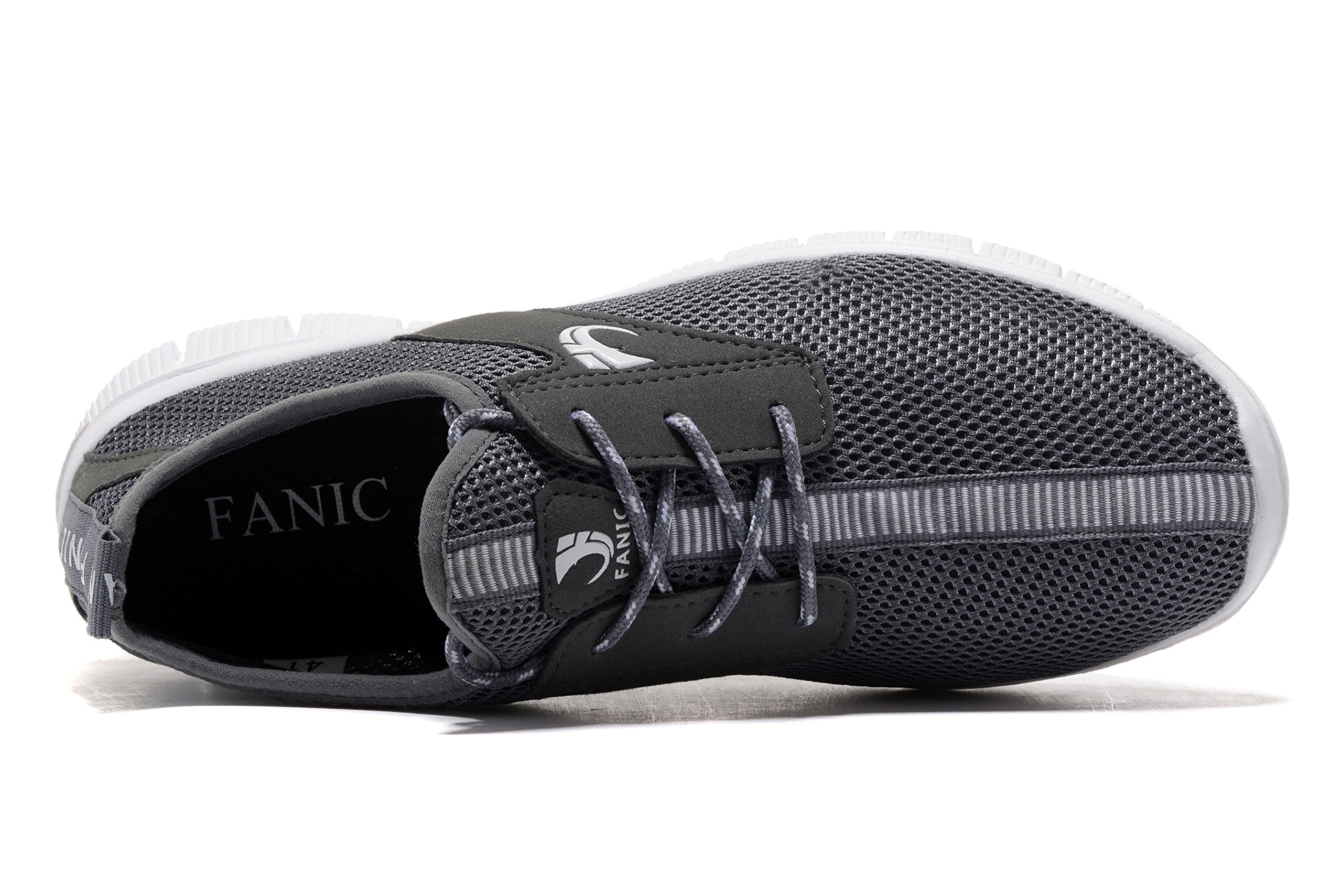 FANIC Men's Walking Shoes Workout Shoes Full Mesh Running Shoes Lightweight Comfortable Fitness Breathable Casual Sneaker (47 M EU / 12.5 D(M) US, Grey) by FANIC (Image #5)