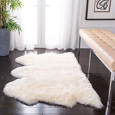 Safavieh Sheepskin Collection SHS121A Genuine Sheepskin Pelt White Premium Shag Rug (3' x 5')