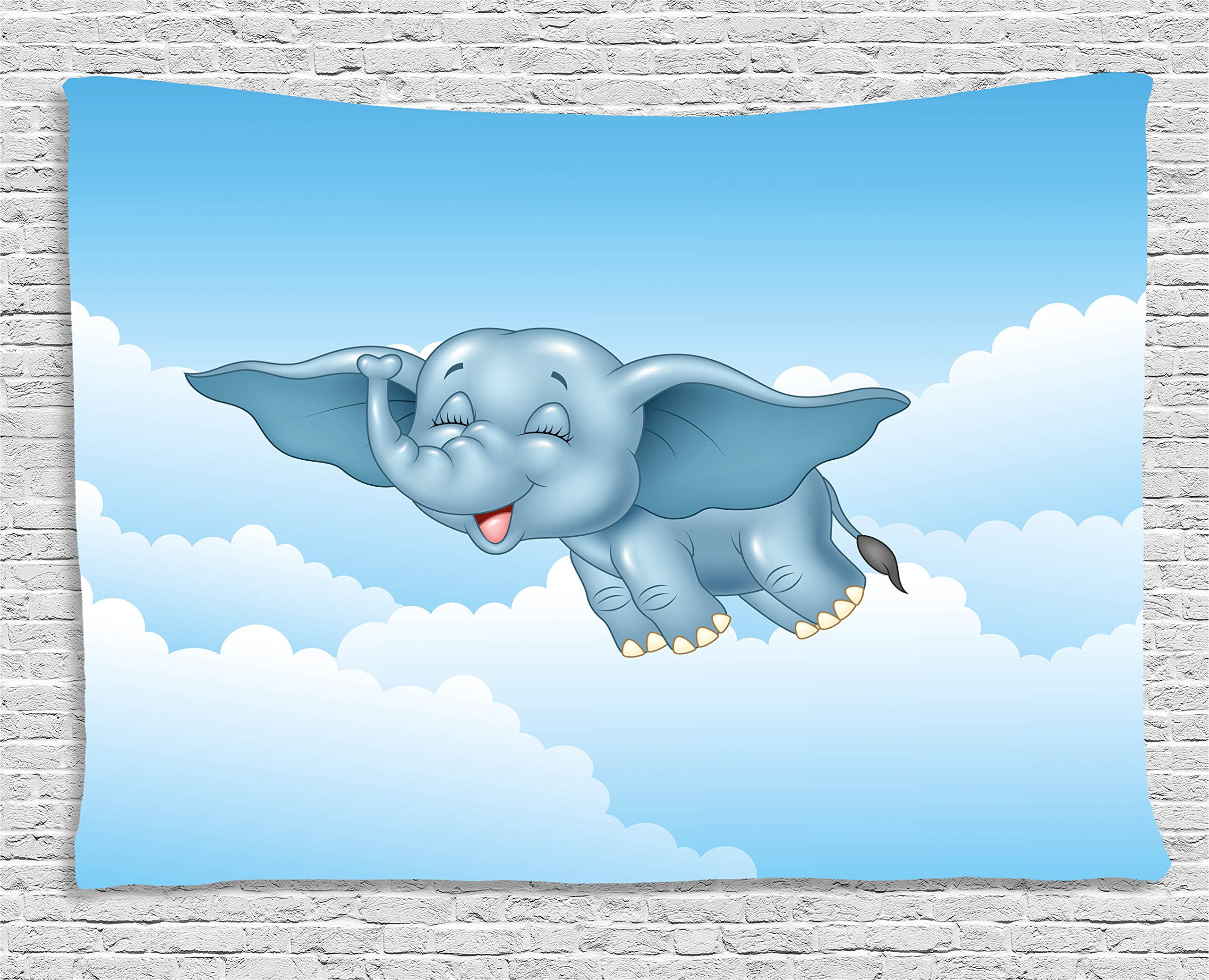 Ambesonne Animal Tapestry, Cute Baby Flying Elephant Clouds Comic Humor Happiness Kids Caricature Illustration, Wall Hanging for Bedroom Living Room Dorm, 80 W X 60 L inches, Light Blue