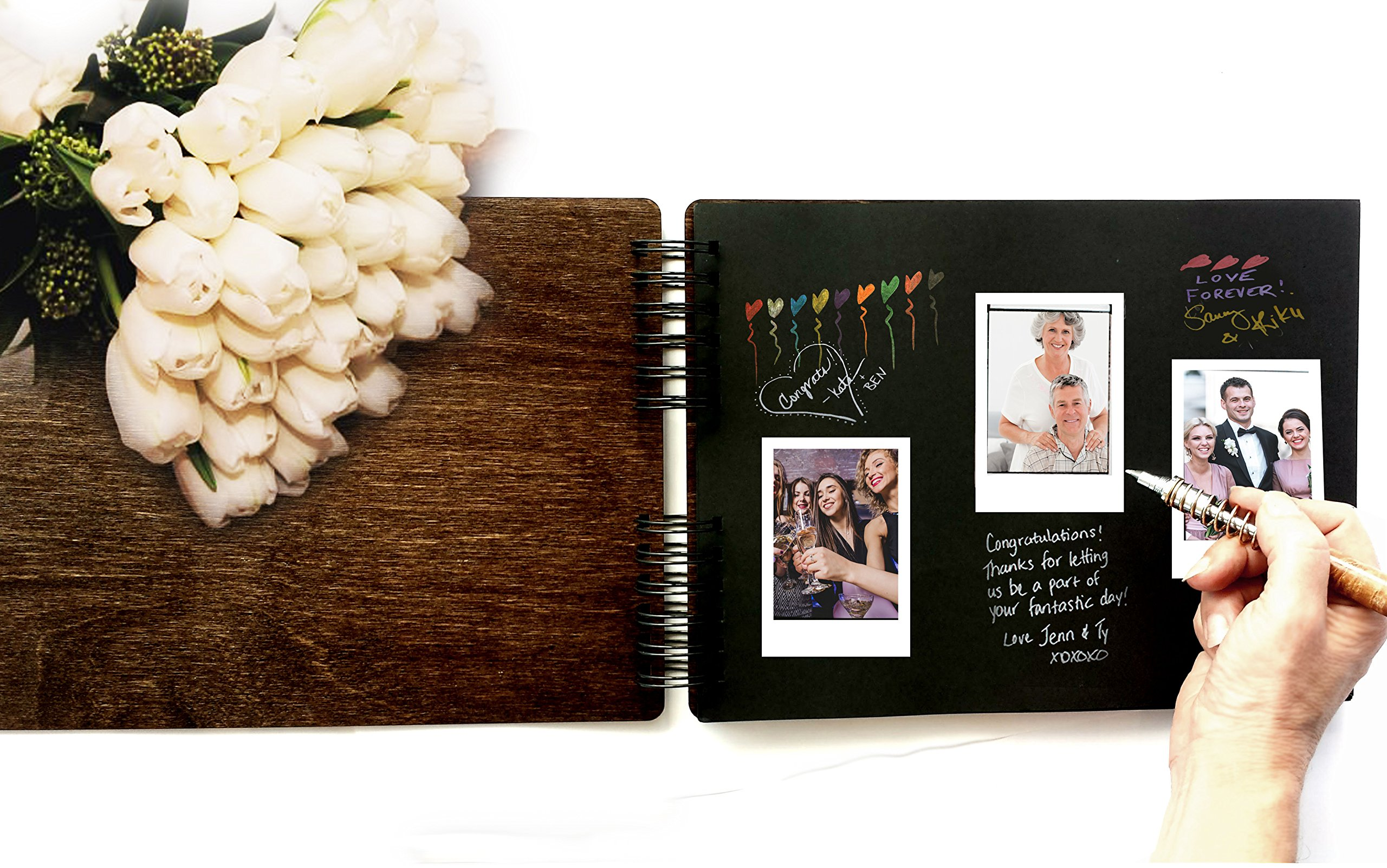 Wooden Rustic Guest Book 11'' x 8.5'' : Made in USA (All Black Cardstock Inside Pages, Front Cover GUESTBOOK Engraved) by Personalize It (Image #3)