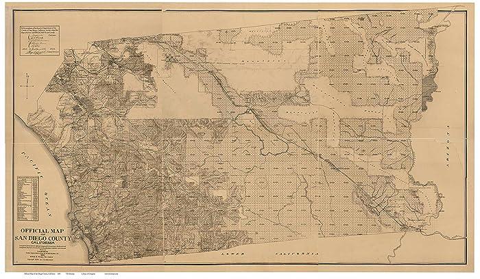 Amazon Com San Diego County California 1889 Wall Map With Farm