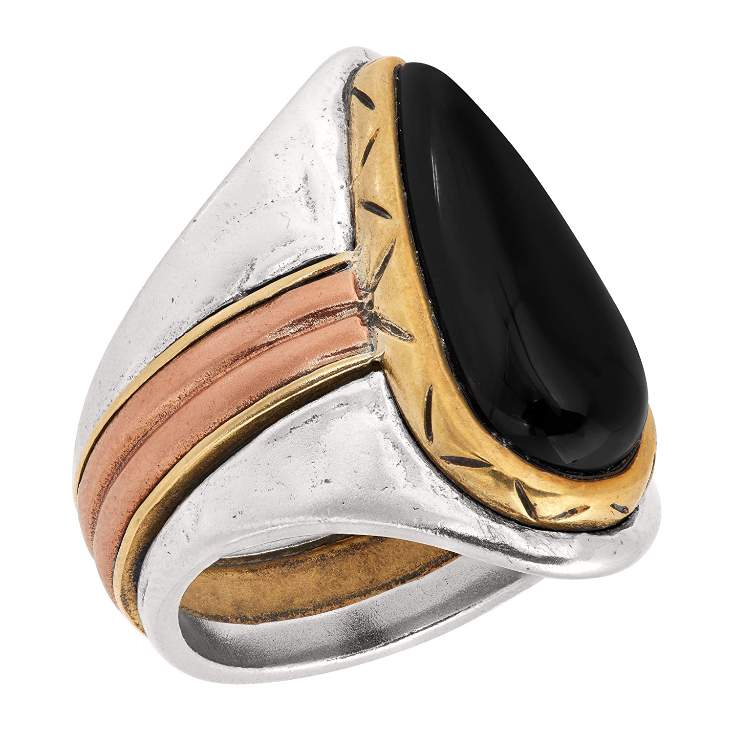 Silpada Black and Gold Natural Agate Ring in Sterling Silver, Copper, Brass