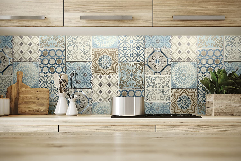 NextWallモロッコスタイルピールとスティックモザイクタイル壁紙。ブルー、銅&グレー) B0789SD4S1