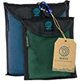 9th WAVE YuccaTowl Microfiber Premium Towels set of 2 (XL, M) for Travel, Gym, Swimming, Camping, Beach or Bath. Best gift for travelers, women or men.