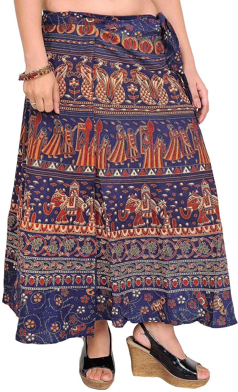 India envolventes de la falda de Midi Pilkhuwa con Impreso ...