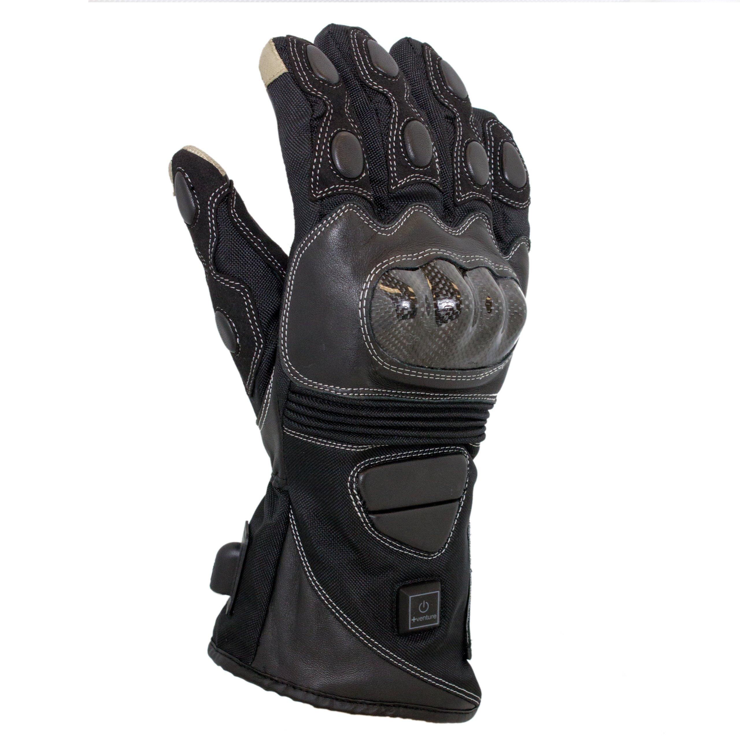 VentureHeat 12V Heated Carbon Fiber Knuckle Motorcycle Gloves (Black, Medium)