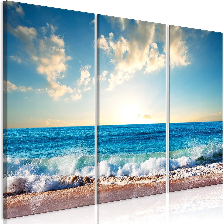 murando Cuadro Acústico Playa Mar 135x90 cm XXL Impresión Artística 3 Piezas Lienzo de Tejido no Tejido Estampado Decoración de Pared Aislamiento Absorción de Sonidos Naturaleza c-B-0385-b-e