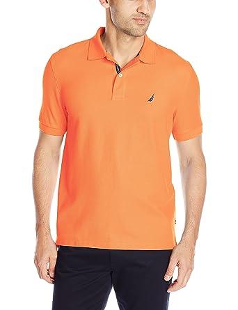 Nautica Men's Short Sleeve Solid Deck Polo, Suncoast Orange, Small