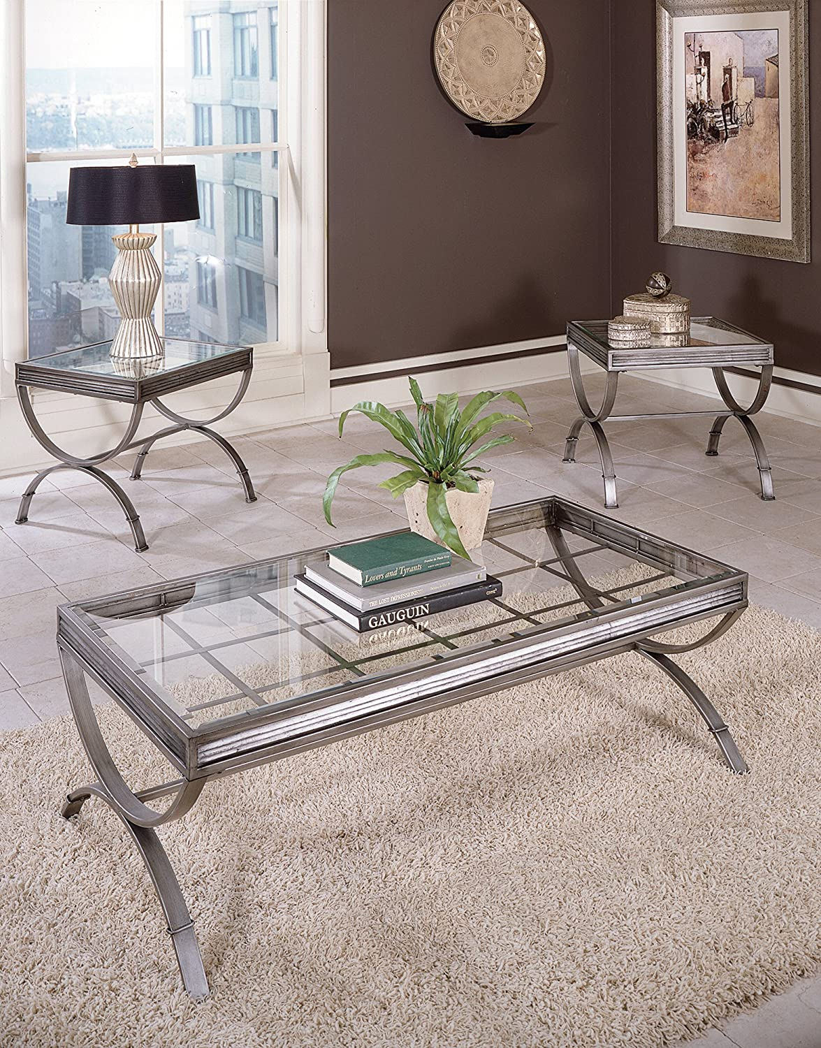 & Amazon.com: Emerson Set of 3 Tables Brushed Nickel: Kitchen u0026 Dining