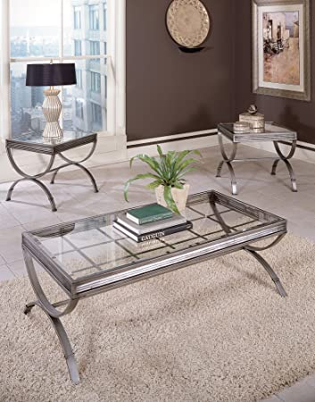 Beau Emerson Set Of 3 Tables Brushed Nickel