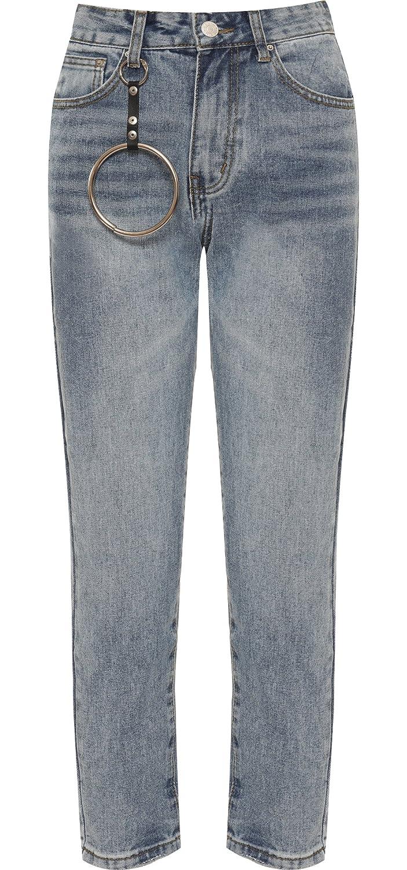 17951b94da4c WearAll Femmes en Jean délavé Anneau en métal Mom Jeans Pantalons Bouffant Femme  Pantalons Jambe Large - Bleu - 42  Amazon.fr  Vêtements et accessoires