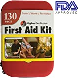 First Aid Kit for Car, SUV and Marine Use | Emergency Kit for Home, Business, Travel, Hiking, Backpacking, Camping and Sports | 130 Pieces | Rugged Hard Shell Case | FDA Approved | + Bonus eBook