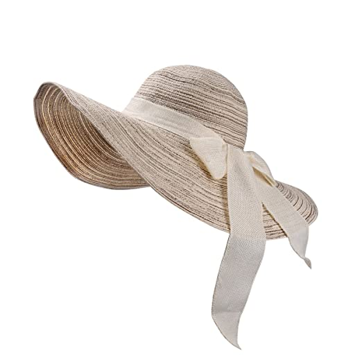 b5fba49e4ee Textured Groove Floppy Sun Hat Ribbon Bow Tie Straw Cap Foldable for ...