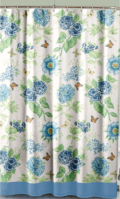 Lenox Printed Shower Curtain, Blue Floral Garden