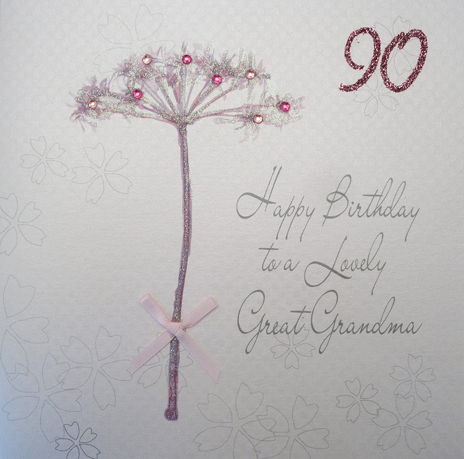 WHITE COTTON CARDS Happy Lovely Grandma 90 Handmade 90th Birthday Card Dandelion Amazoncouk Kitchen Home