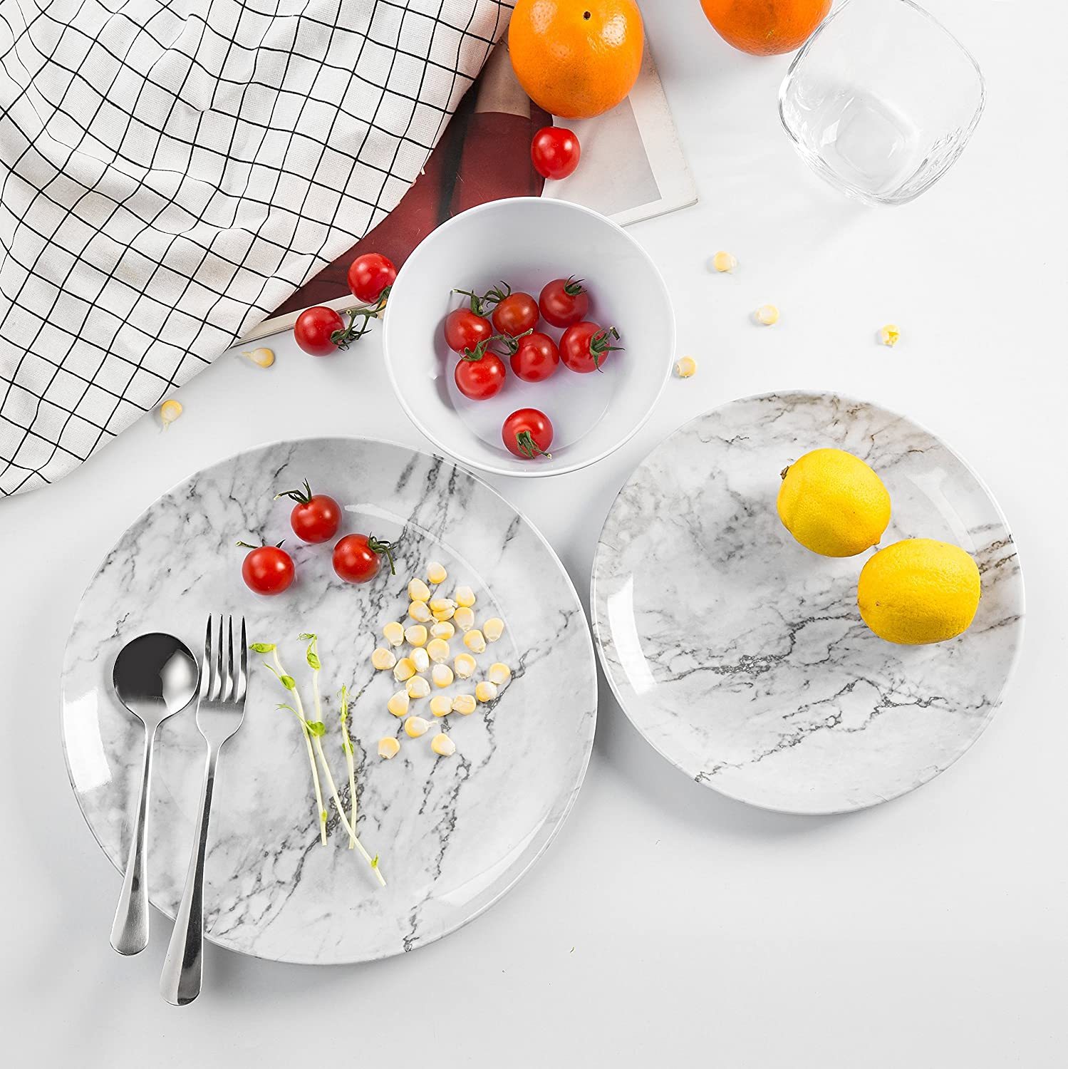 Melamine Dinnerware Set for 4-12 Piece Dinner Dishes Set for Camping Use,Lightweight Unbreakable//Dishwasher Safe Marble Pattern