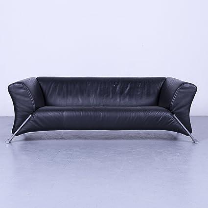 Amazon.com: Rolf Benz 322 Designer Leder Sofa Schwarz Dreisitzer ...