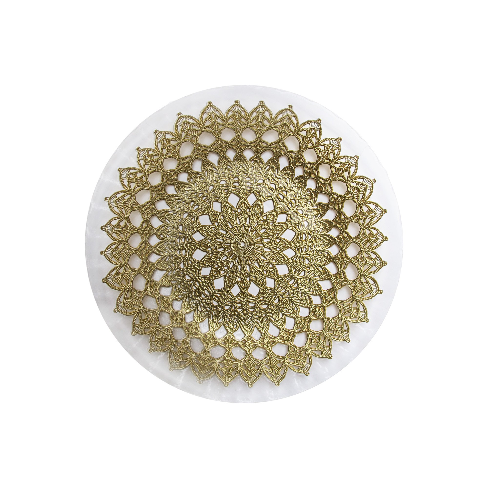 ChargeIt by Jay 1470441 Emma Glass Charger Plate, Gold