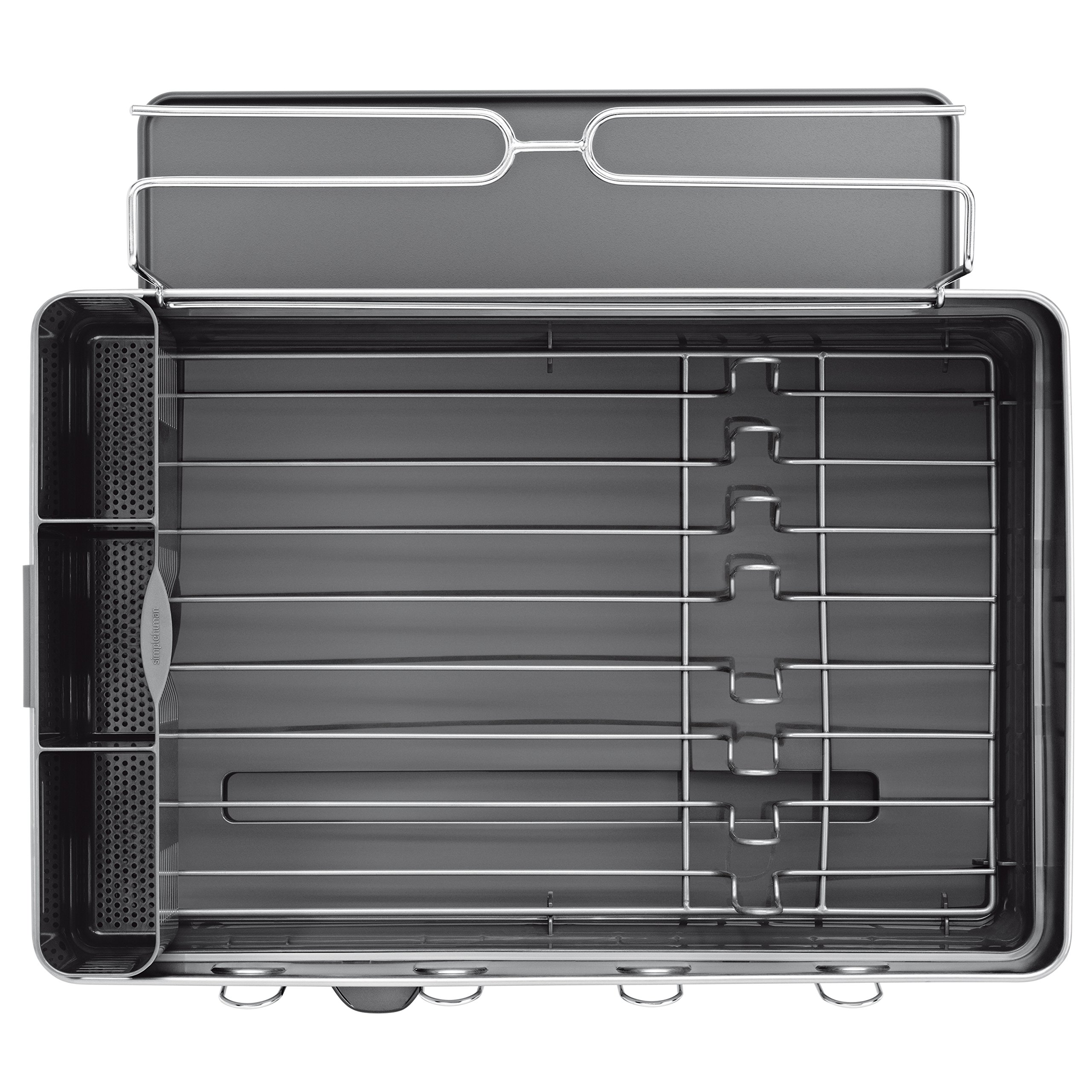 simplehuman Kitchen Steel Frame Dish Rack With Swivel Spout, Fingerprint-Proof Stainless Steel Frame, Grey Plastic by simplehuman (Image #5)