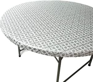 TopTableCloth Outdoor Tablecloth Round Fitted Fits Tables up to 37