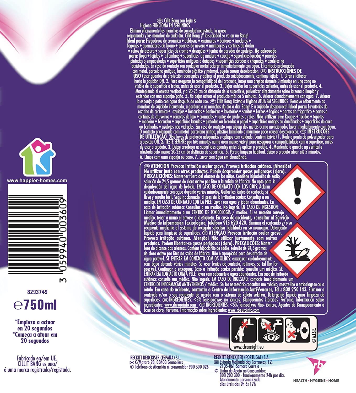 Cillit Bang Potente Limpiador Spray Lejía & Higiene Antimoho - 750 ml: Amazon.es: Alimentación y bebidas