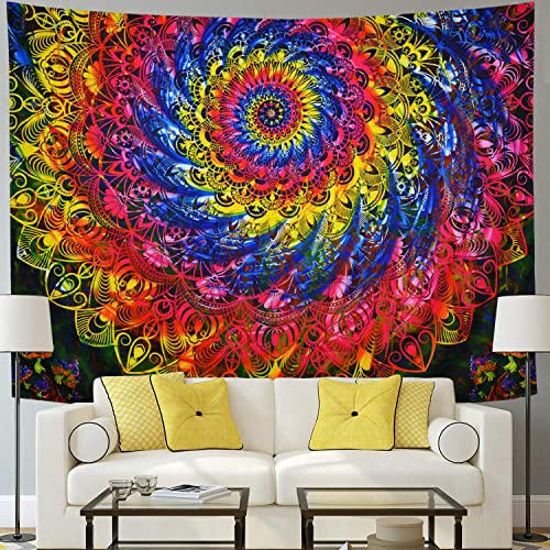 Trippy Mandala Tapestry Psychedelic Mushroom Wall Tapestry Colorful Abstract Hippie Tapestry Wall Hanging for Bedroom Dorm X-Large, Mushroom Mandala