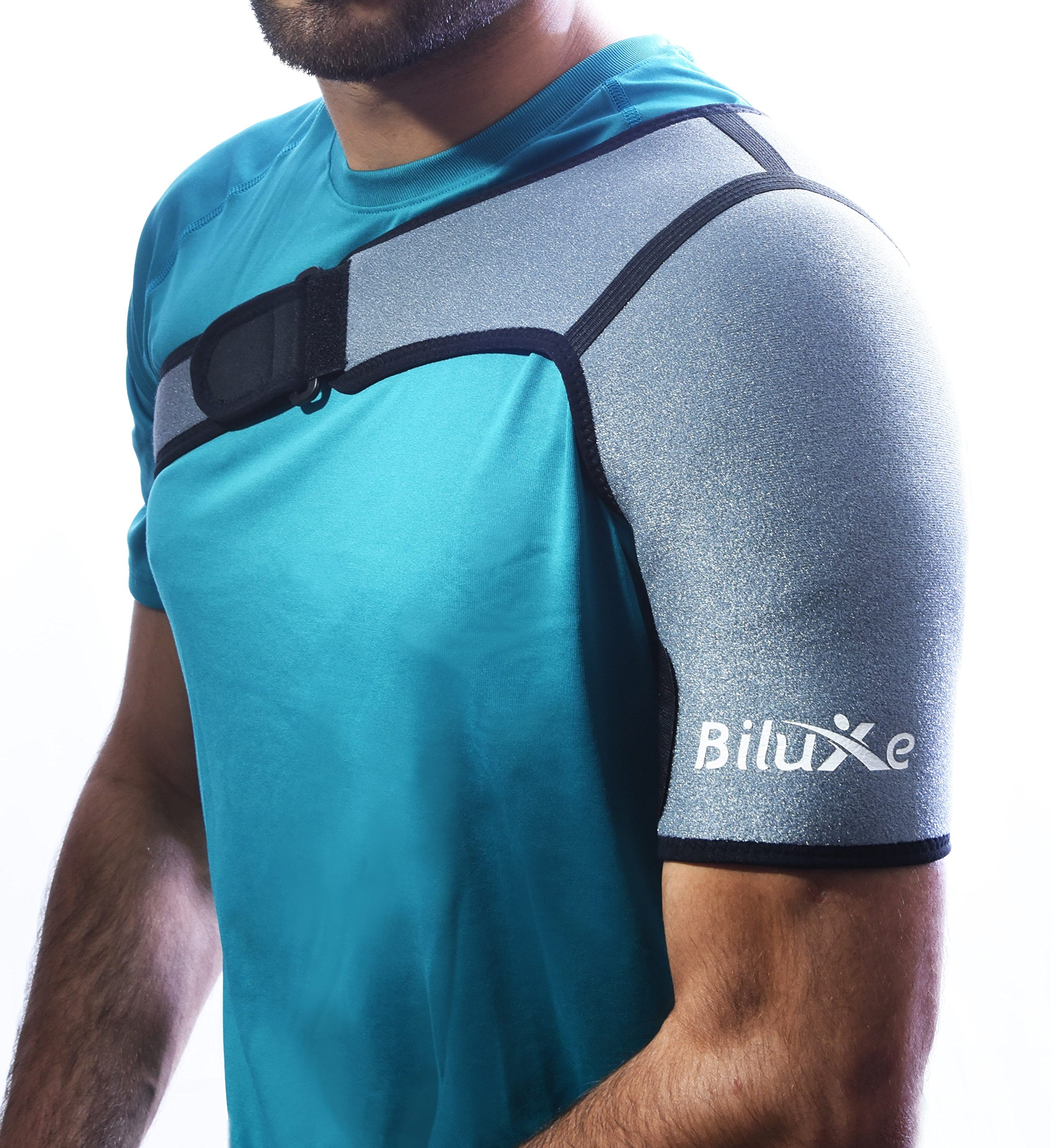 Shoulder Brace - Adjustable Support for Men and Women - Neoprene Compression Sleeve - Relieves Pain for Rotator Cuff Injury, Dislocated Joint, Sport Injuries - Left or Right Compatible - Medium Size