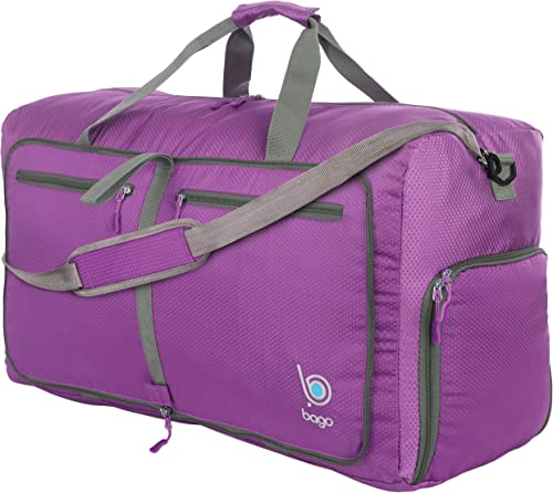 Bago 80L Duffle Bag for Women Men – 27 Travel Bag Large Foldable Duffel bag Purple