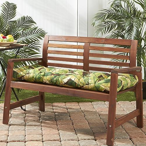 Greendale Home Fashions AZ5812-PALM-GREEN Tropical Green 51-inch Outdoor Bench Cushion