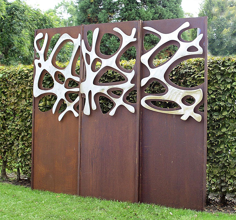 Gartenwand Sichtschutz Triptychon Edelstahl Rost Stahl 225x195 Cm