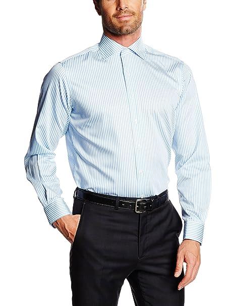diseño atemporal 629f9 0f91e Mirto Venecia Camisa de Vestir, Azul, 38 para Hombre: Amazon ...