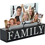 Malden International Designs Tabletop Photo Clips Wood Block Family Picture Holder, 3 Option, Black