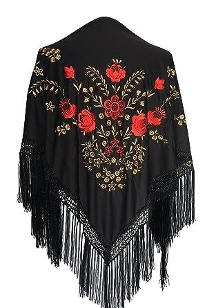 e8295d16ca7f La Senorita Foulard Ceinture Chale De Danse Flamenco Broderie Frange noir  rouge d  or