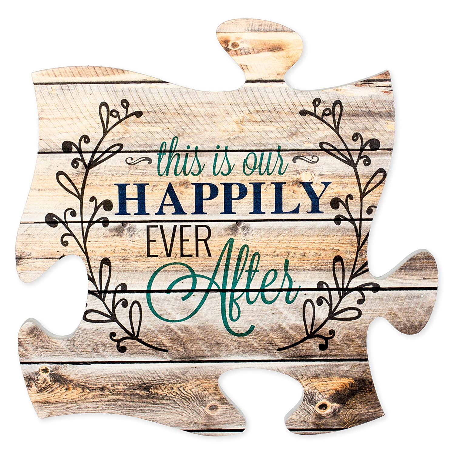 This is Our Happily Ever After 12 x 12 inch Wood Puzzle Piece Wall Sign Plaque P. Graham Dunn PUF0223