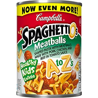 Campbell's SpaghettiOs Canned Pasta, A to Z Shapes with Meatballs, 15.6 Ounce (Pack of 12)