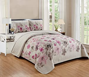 Better Home Style 3 Piece Luxury Lush Soft Floral Flowers Coverlet Bedspread Oversized Bed Cover Set # Lily (Full/Queen, Purple)
