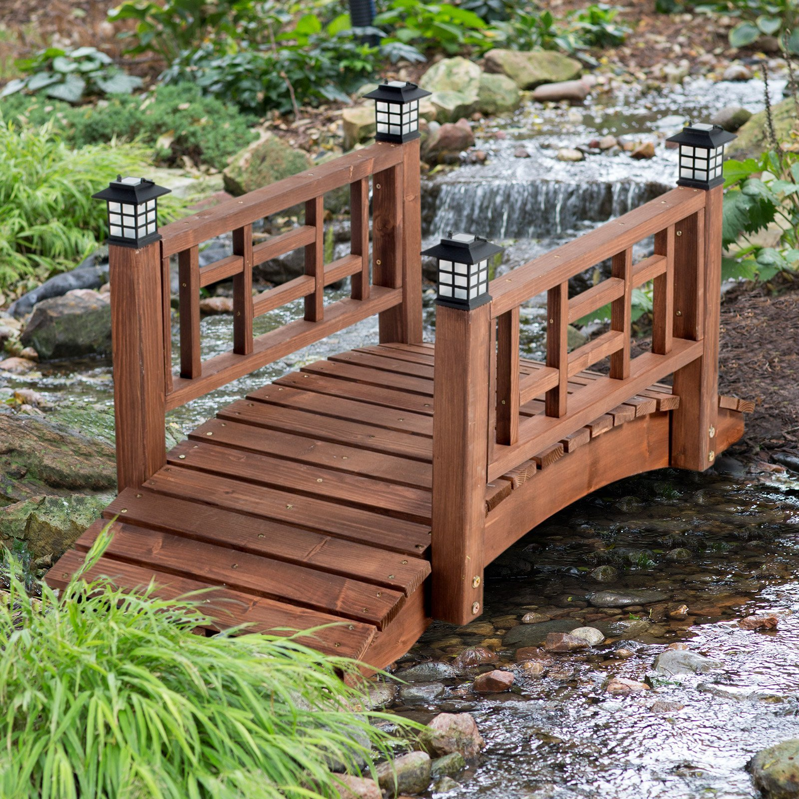 Brown Finish Wood 48'' Garden Bridge LED Lights Outdoor Yard Lawn Landscaping by Home Improvements