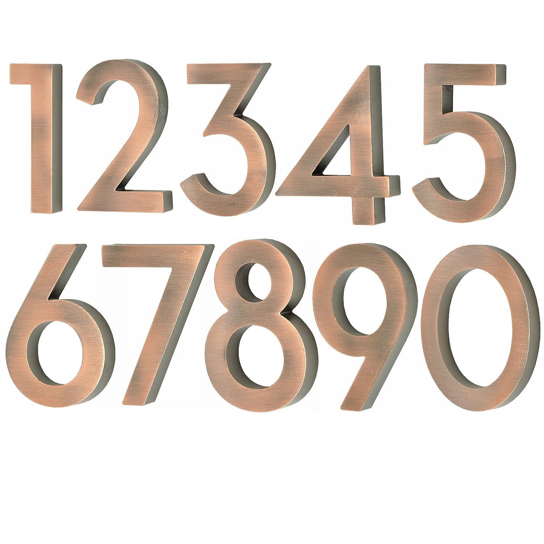 nanook Numéro de maison 1 modèle 'Scala' en aluminium massif brossé 10 cm - couleur cuivre No.1