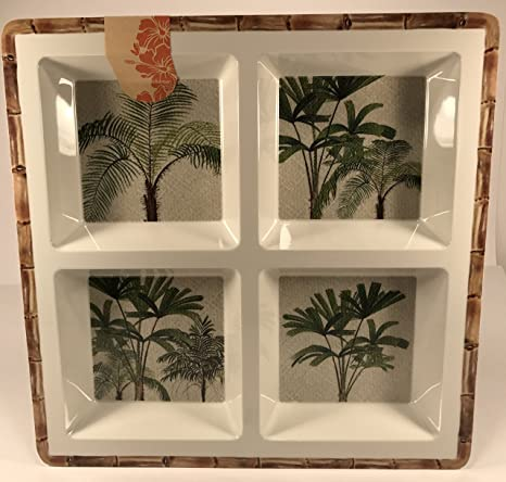 Tommy Bahama melamina dividido bandeja para servir palmeras diseño de bambú 13,5