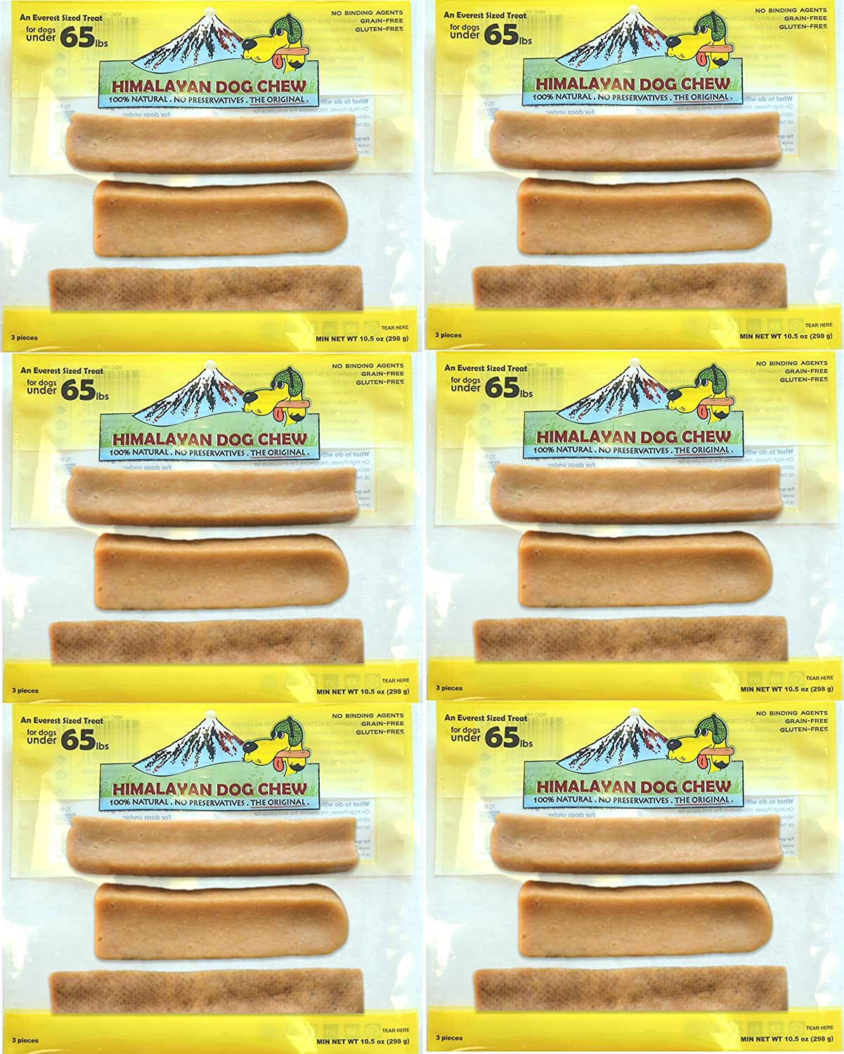 FRESH HIMALAYAN DOG CHEW 3 PIECE VALUE PACK LARGE 10.5 OZ HEALTHY NATURAL LONG LASTING TREAT 6 Pack