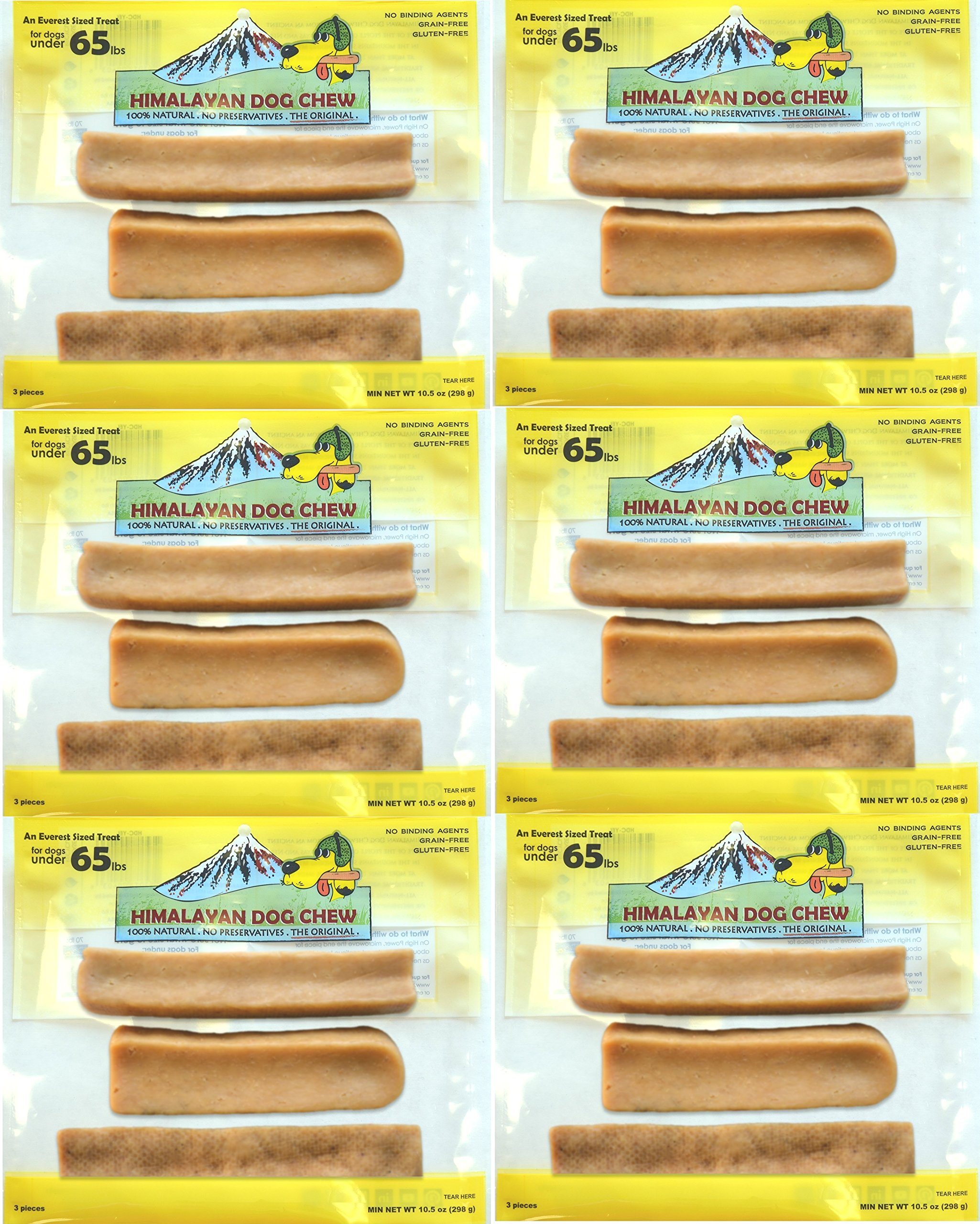 FRESH HIMALAYAN DOG CHEW 3 PIECE VALUE PACK LARGE 10.5 OZ HEALTHY NATURAL LONG LASTING TREAT (6 Pack) by Himalayan Corporation
